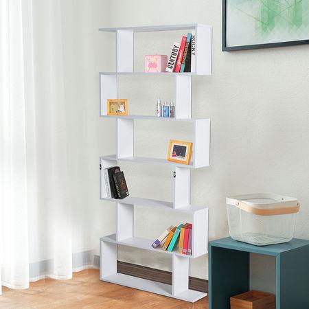HomCom® Estante Alta Livraria 6 Estantes Sala de Jantar Sala Desenho Moderno Montagem de Parede 80x23x192cm Madeira Branca
