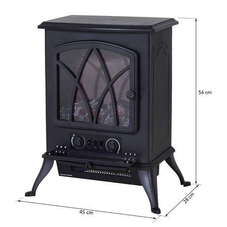 HomCom® Lareira Eléctrica Móvel tipo Aquecedor de Pé 1000W/2000W – Cor Preto - 41.5x28x54cm
