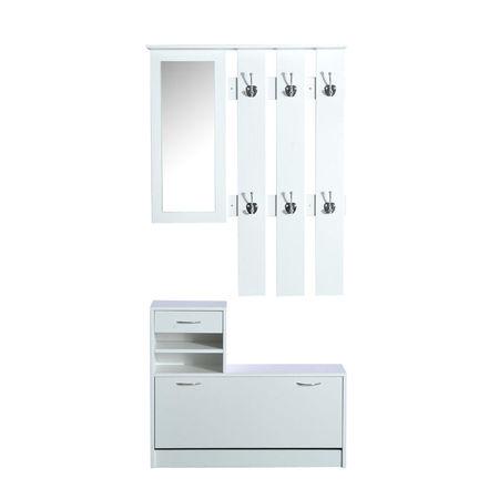 HomCom Conjunto de Móveis de Entrada– Hall de entrada– Cor: Branco– Contraplacado– Bengaleiro com Espelho e Sapateira com Gaveta