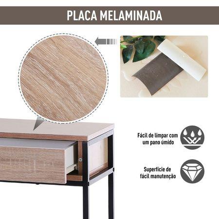 HOMCOM Mesa para Hall com 2 Gavetas e Prateleira Inferior 120x30x81,5 cm Carvalho