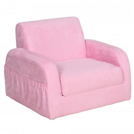 HOMCOM Poltrona 2 em 1 dobrável com assento acolchoado para crianças acima de 3 anos Rosa