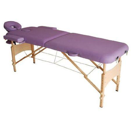 Marquesa Dobrável para Fisioterapia - Cor Roxo - Madeira de Faia e PU - 182x60 cm