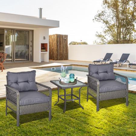 Outsunny Conjunto de móveis de rattan de jardim 3 peças 2 poltronas 65x66x75 cm e 1 mesa de vidro temperado 50x50x50 cm cinza