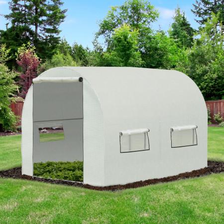 Outsunny Estufa de Jardim Tipo Túnel com janelas e portas para cultivo de plantas Cobertura PE Estrutura de aço 295x200x190cm branca