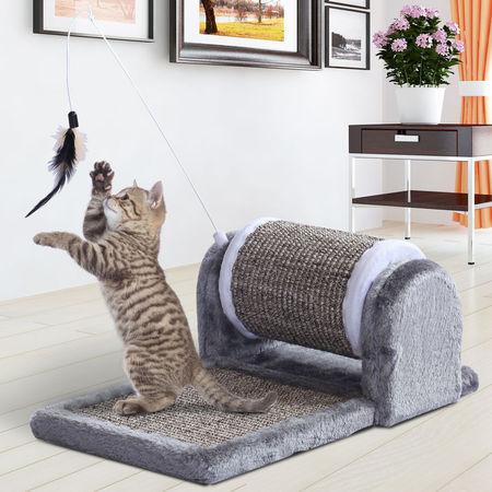 PawHut Raspador para Gatos Árvore Rolo Centro de Atividade Raspador e Cobertura de Painel Sisal Natural 45x25x16cm