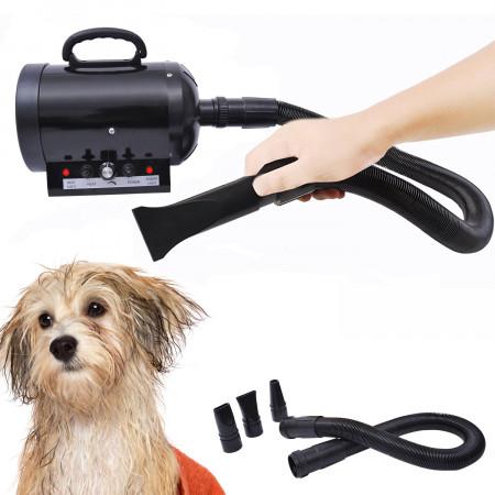 Secador de Pelo 2800 W para Cães Animais de Estimação + Tubo Flexível 2,5 metros Preto