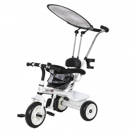 Triciclo infantil com Capota – Cor: Branco – Ferro, Plástico e Tecido – 103 x 47 x 101 cm