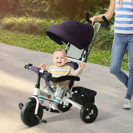 Triciclo para Crianças com Capota– Cor: Roxo e Branco– Ferro, Plástico e Tela– 92 x 51 x 110 cm
