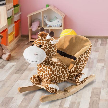 HomCom® Cavalito de Baloiço bebé +18 meses Cadeira de Baloiço de Girafa 60x33x45cm