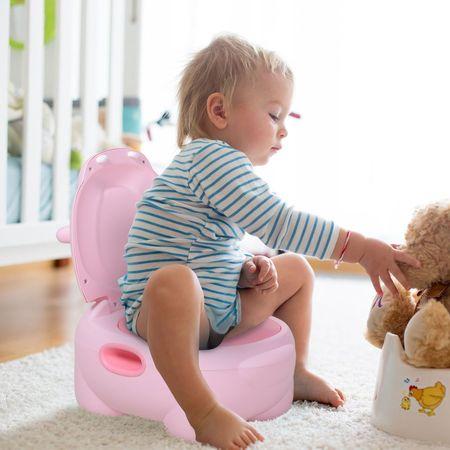 HOMCOM Toalete infantil Mictório removível com forma de hipopótamo com alças Toalete rosa 40x30x23 cm