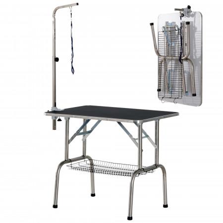 Mesa de Cabeleireiro para Animais de Estimação PawHut - Aço, Alumínio, Chapa Anti-riscos e Borracha - 90x60x75 cm