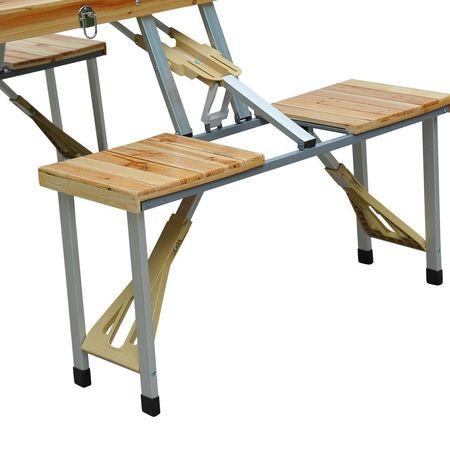 Mesa desdobrável de madeira de pinho para acampamento ou praia 4 assentos - Castanho - 85x72.5x68cm