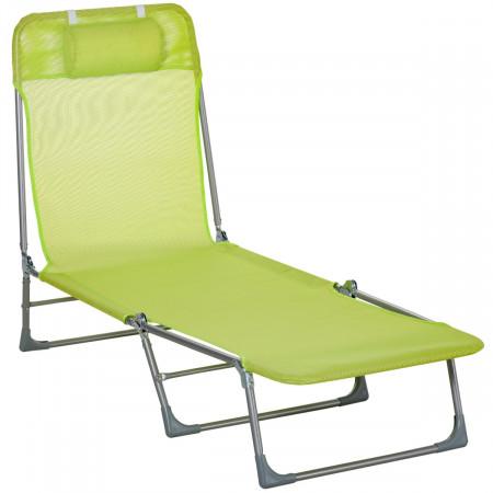 Outsunny Espreguiçadeira dobrável e reclinável de jardim com apoio de cabeça e encosto ajustável em 5 níveis Tecido textilene respirável 182x56x24,5 cm verde