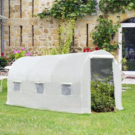 Outsunny Estufa de jardim 4x2x2m com 6 janelas Cobertura PE 140g / ㎡ Estrutura de aço impermeável
