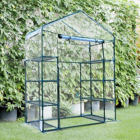 Outsunny Estufa de jardim Cabana para colheitas Plantas Tomates Flores 143x73x195cm Tampa de tubo de aço PVC