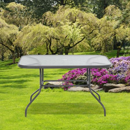 Outsunny Mesa retangular de metal para jardim com orifício para guarda-sol Capacidade 70kg Vidro temperado 120x80x70 cm Cinza carvão