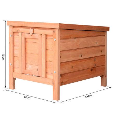 PawHut Gaiola para coelho Cobaia de madeira ao ar livre Casa para Pequeno Animal 51x42x43cm