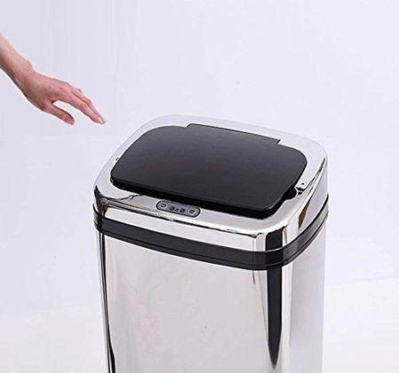 Caixote do lixo com Sensor de Movimento Automático- Cor: Prateado- Aço Inoxidável- 33 x 25 x 58 cm