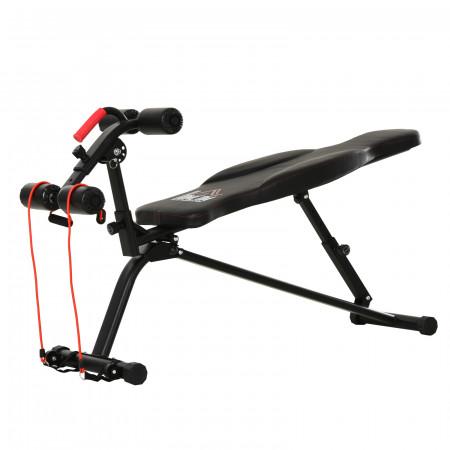 HOMCOM Banco de exercícios abdominal dobrável para fitness 150x45x77-85cm preto