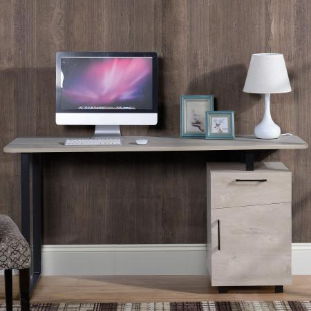 HOMCOM Mesa de escritório com gaveta e armário com prateleira ajustável 150x60x76 cm Madeira natural