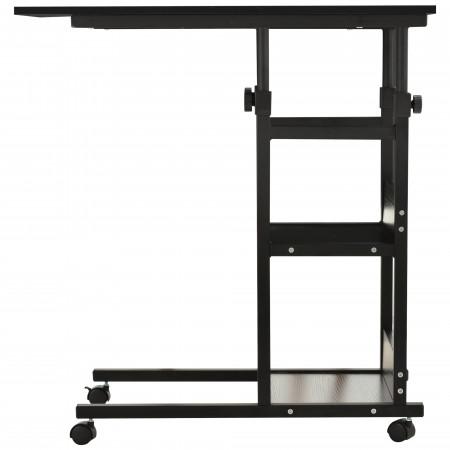 HOMCOM Mesa lateral em forma de C com 4 rodas de altura ajustável em 3 níveis Metal preto