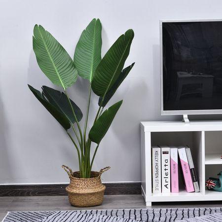 Outsunny Planta de decoração artificial de Palma Árvore realista com vaso de flores 7 folhas x15x120cm para exterior e interior Não requer instalação