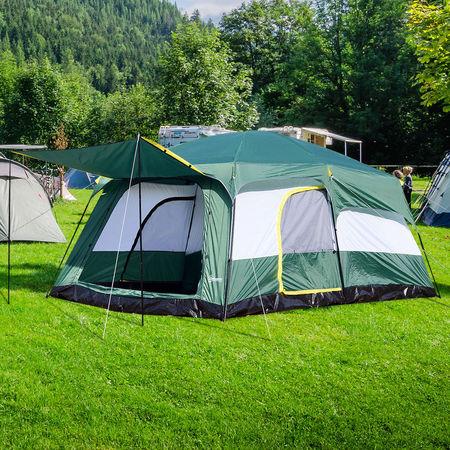 Outsunny Tenda de Acampamento Familiar 8-10 Pessoas Portátil e Impermeável com Saco de Transporte 4.3x3x2m