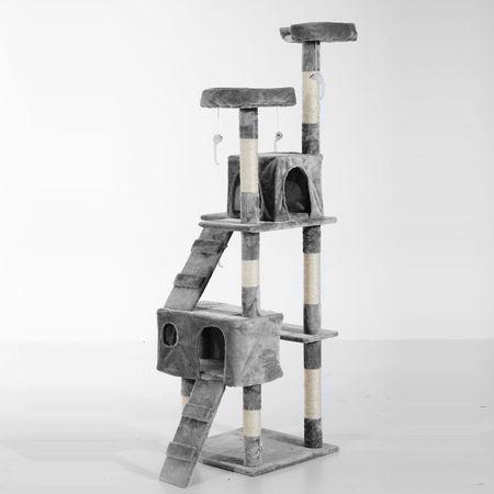 PawHut Arranhador de árvore para gatos de cor Madeira cinza Pelúcia 50x50x170cm