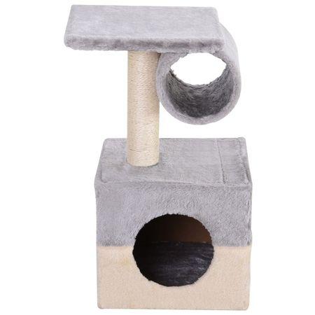 PawHut Arranhador Peluche Cinzento 31x31x58 cm