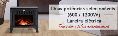 HomCom® Lareira Eléctrica tipo aquecedor com ilusão de lenha arder 600W/1200W – Preto - 34.5x17x31cm