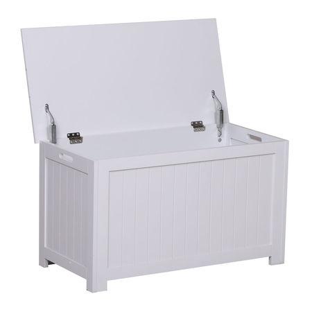 HOMCOM Armário de madeira para armazenamento de roupas brinquedos banco de armazenamento para sala de estar e banheiro carga de 20 kg branco 81 x 40 x 46 cm
