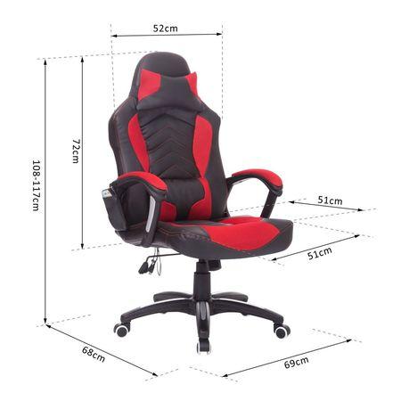 HomCom Cadeira de Escritório Gaming Reclinável e Giratória com 6 Pontos de Massagem e Aquecimento - 68x69x108-117 cm