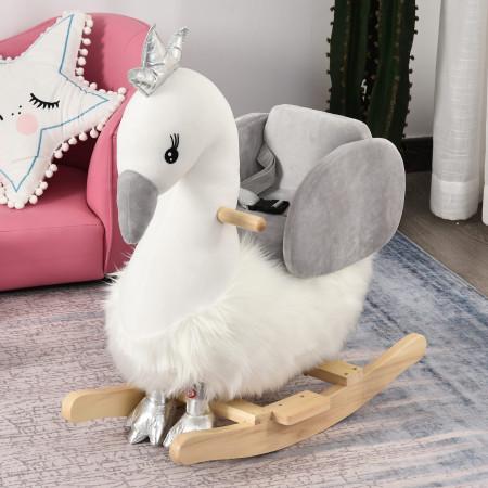 HOMCOM Cavalo de balanço para bebê acima de 18 meses em forma de cisne com som 60x33x59 branco e cinza