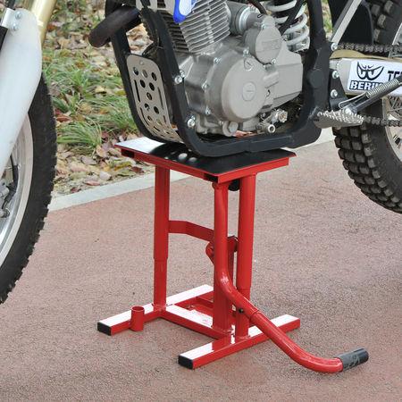 HomCom Descanso Suporte Macaco de Motocross para Reparação e Estacionamento – Cor: Vermelho – Aço – Carga Máx. 150kg - 28 x 34 x 30-40 cm