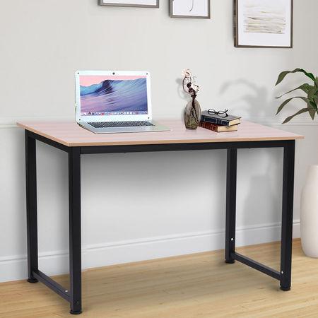 HOMCOM Mesa de computador para casa oficina Com pés ajustáveis Mobiliário de Escritório Simples 120x60x76cm 100 kg de carga Armação de metal