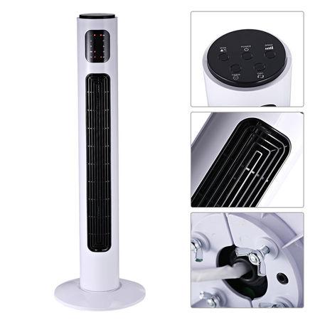 HomCom Torre Ventilador de Pé com Controlo Remoto e Movimento Oscilante 3 Modos Temporizador 3 Velocidades Potência 45W - φ32x96cm