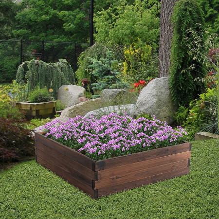 Outsunny Floreira de Abeto maciço Canteiro de jardim para Cultivo de Plantas 80x80x22,5 cm Castanho