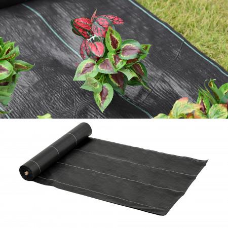 Outsunny Malha Geotêxtil 2x50 m Malha de jardim contra ervas daninhas 100 g / m² rolo de malha preto