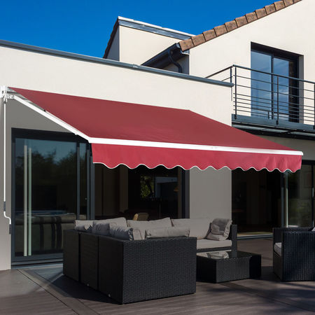 Outsunny Toldo de alumínio manual dobrável com manivela para pátio Varanda Jardim e terraço Tecido de poliéster 280g / m² - Vermelho - 4x2.5m