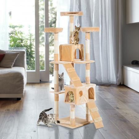 PawHut Arranhador Árvore Aglomerado de madeira Bege 50x50x170 cm