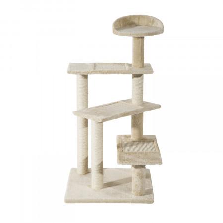 PawHut Árvore para gato Poste para arranhar com cama de plataforma e cobertor de sisal de veludo bege - 50x50x100cm