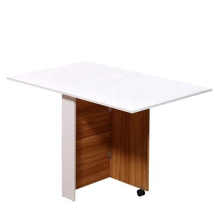 HomCom® Mesa de jantar dobrável com rodas Prateleira multifuncional de 3 vias