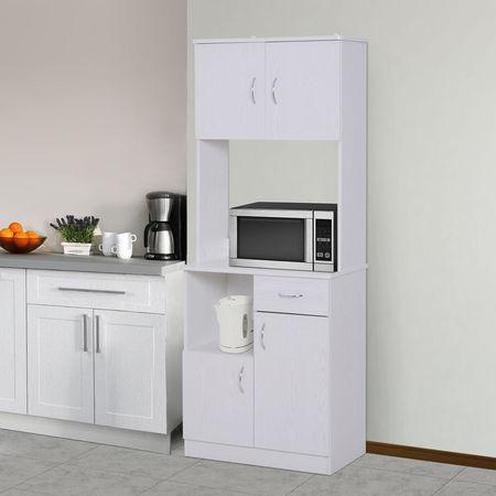 HOMCOM Armário Buffe Armário da cozinha do organizador do aparador da cozinha 3 portas 1 gaveta e bancada aberta para o armazenamento 71x41x178cm