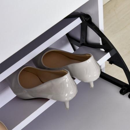 HOMCOM Armário de sapatos com 6 prateleiras Porta Inclinada capacidade de 18 Pares Branco