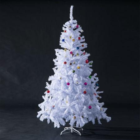 HomCom Árvore Branca de Natal Φ105x180cm com enfeites