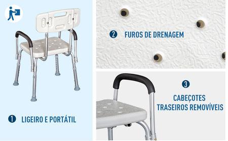 Homcom Cadeira Ortopédica Regulável para Banho- Cor: Branco- Carga: 135 kg- 46,5 x 54,2 x 72,5-85 cm