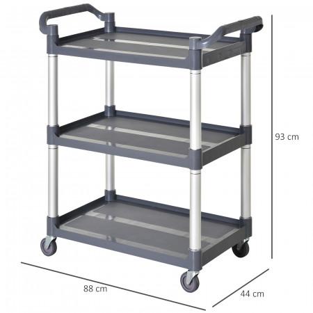 HOMCOM Carrinho de armazenamento de alumínio com 3 níveis de carga total 300 kg com 4 rodas 88x44x93 cm Cinza