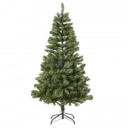 HOMCOM HOMCM Árvore de Natal artificial pré-iluminada com dobradiças 150cm com decoração e suporte de luz LED