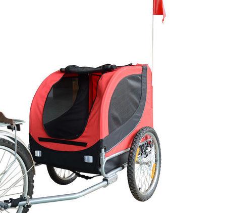 Homcom Atrelado para Bicicleta com Refletores e Bandeira para Animal de estimação tipo Cão - Vermelho e preto - 130x90x110 cm