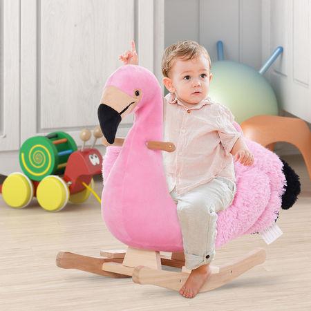 HOMCOM Cavalo de balanço flamingo com cinto de segurança Gangorra de bebê Brinquedo de pelúcia para crianças acima de 18 meses 60x33x52cm